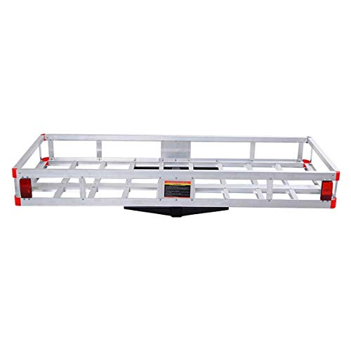 """GOFLAME Aluminum Hitch Mount Cargo Carrier 60"""" x 22"""" Heavy Duty Luggage Basket Medical Rack Ramp Mobility and Equipment 500LBS Cargo Carrier for SUV, Truck, Car, Silver"""