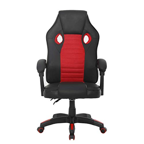 Alto respaldo silla de juego de ordenador silla de carreras estilo juego cinturón de cuero reposapiés almohada lumbar almohada cuello altura ajustable 360 ° rotación silla de ordenador(Rojo-D)