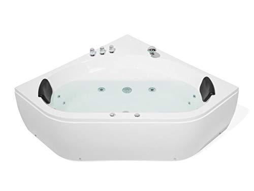 Supply24 Whirlpool Badewanne Malta 140 x 140 cm mit 12 Massage Düsen + LED + Armaturen Wanne mit Kopfstützen Hot Tub Spa Indoor/innen für 2 Personen für Eckmontage Links rechts