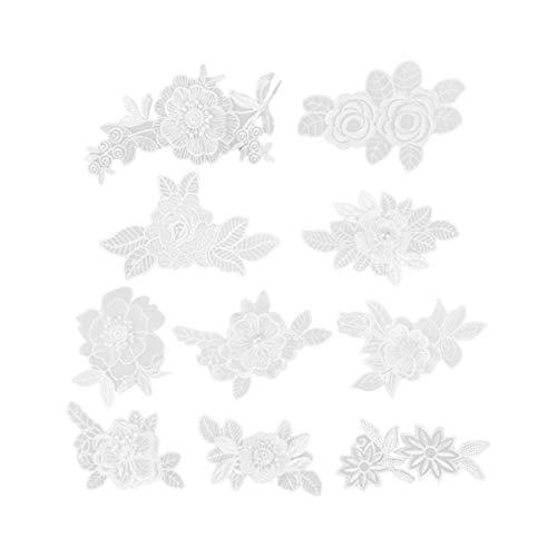 Healifty 10 Piezas Parche de Costura Encaje Diy Decoración de Parche Floral Accesorio de Reparación de Parche para Camisa Vestido Ropa Bolsa Decoración (Blanco)