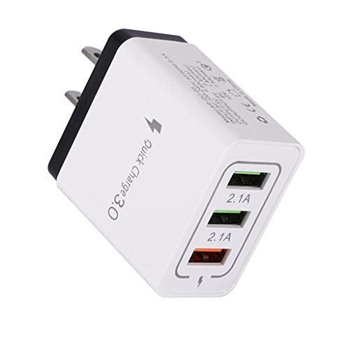 USB Wall Charger, FunDiscount 2.1Amp QC 3.0 3-Port Quick Charger Plug Cube Block Portable Travel Power Adapter Replacement Compatible for iPhone11 Pro Max/XS/XR/8/7 Plus, Android (Black)