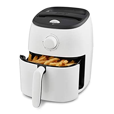 Dash DCAF200GBWH02 Tasti Crisp Electric Air Fryer Oven Cooker with Temperature Control, Non-stick Fry Basket, Recipe Guide + Auto Shut Off Feature, 1000-Watt, 2.6Qt, White from Dash