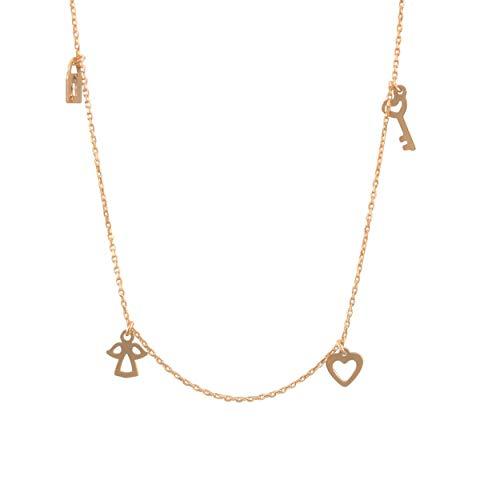 Lumarigold Gouden dameshalsketting 585 14 k goud geelgoud ketting met hanger hart engel sleutel hangslot gravure