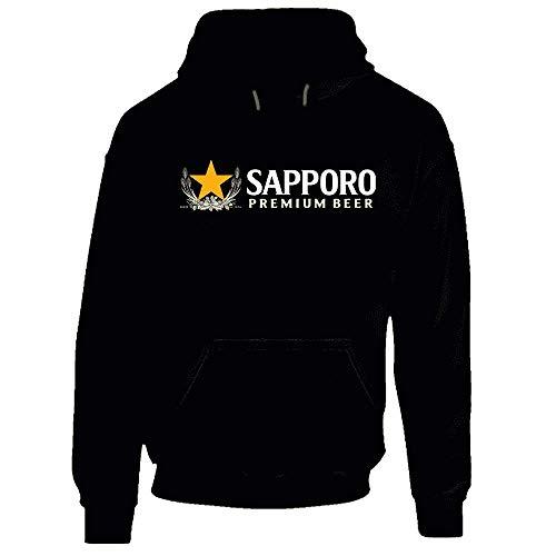 Sapporo Premium - Felpa con cappuccio per birra giapponese con alcool. Nero 2XL