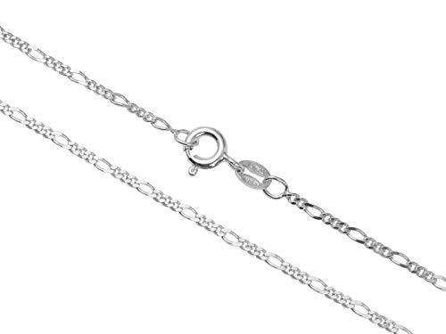 Aka Gioielli - Collar Mujer Hombre Plata De Ley Esterlina 925 Rodio - Cadena Figaro 1.7 mm - Longitud: 70 cm