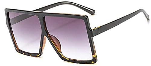 Dakecy Gafas de Sol cuadradas de Gran tamaño para Mujer Gafas de Sol cuadradas polarizadas Protección UV400 Compuesto Brillante Marco Brillante Gafas de Sol de diseñador para Mujer (Color : Leopard)