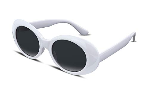 FEISEDY White Clout Goggles Sunglasses Women Men Retro Oval Sunglasses Girls Boys Sunglasses Y2K B2253