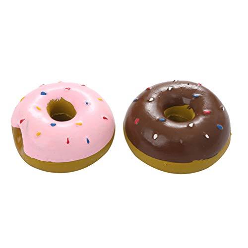 Balacoo 2 Stück Hund Quetscher Spielzeug Welpe Donut Geformt Backenzahn Latex Interaktiv Klingende Beißspielzeug Bäckerei Display Dekoration für Haustier Kind (Zufällige Farbe)
