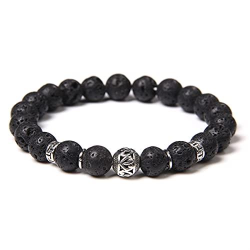 ACEACE Fashion Black Labradorite Stone Beads Bracelet Men Turquoises Metal Round Ball Charm Bracelet for Women Men Jewelry (Length : 23CM, Metal Color : Lava)