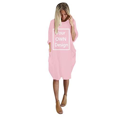 VRTUR Robe Pullover Femme Grande Taille À Manches Courtes Casual Mini Robe Tunique Longue Col Rond Chemisier avec Poches Chic(C-Rose,XXL)