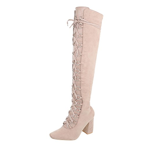 Ital-Design Overknees Damen-Schuhe Overknees Pump Schnürer Reißverschluss Stiefel Beige, Gr 37, Jr-009-