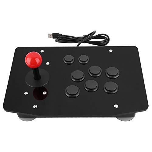 Asixxsix Controle basculante de arcade, controle de alça de jogo de substituição à prova de fogo, botões 3D tipo cartão 8 botões para jogo Rocker Arcade