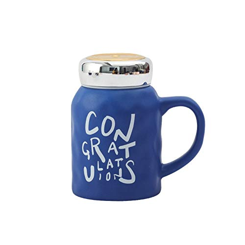 Gaodpz Lettera inglese Coppia Tazza opaca Concavo specchio convesso Coppa resistente al calore Grande capacità di Office con coperchio in ceramica Cup (Color : Blue, Size : 480ml)