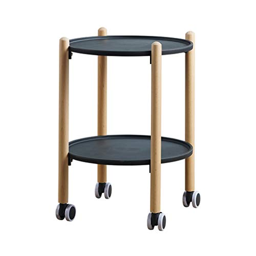 Tables basses Chariot à thé Petite Table Mobile côté en Bois Massif Rond Salon Table à thé Chariot Mobile Voiture-Restaurant (Color : Black, Size : 41 * 41 * 56cm)