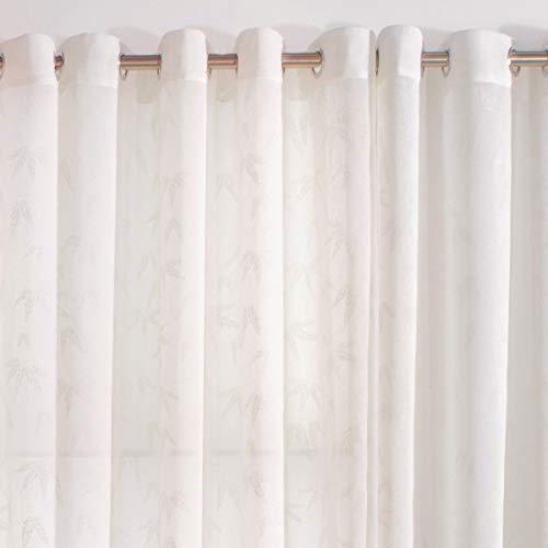 Sancarlos Palm Dos Piezas Cortinas confeccionadas, Blanco, 140X270