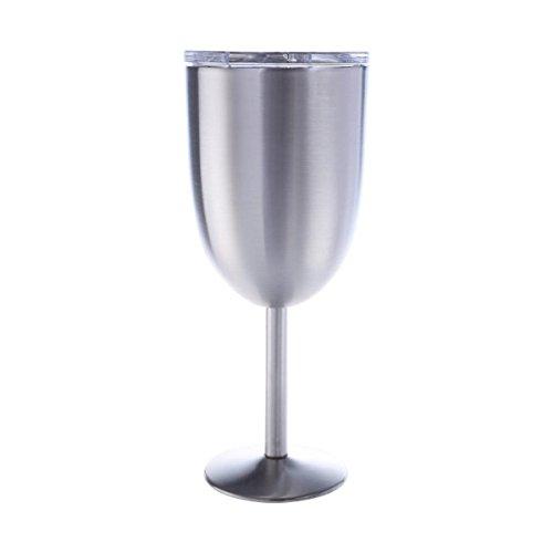 Kuinayouyi Copas de vino de acero, 300 ml al vacío de acero 304, copa de vino, copa de vino, ideal para uso diario, camping y picnic (plata