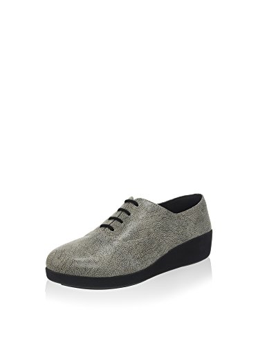 FitFlop 441 Womens F-Pop Oxford Flat Shoe, Stone (Pebbleprint) - 9.5