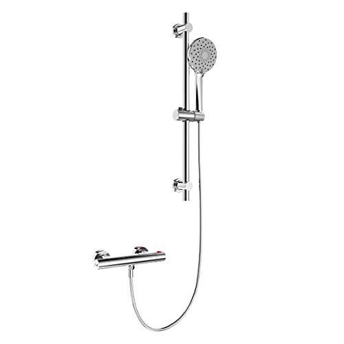 EMKE Handbrause Dusch Set mit Thermostat Mischer, Brausegarnitur Duschstange Duschschlauch, 6 Strahlarten Handbrause und höhenverstellbare Duschsäule Duschset, 23cm Rund Überkopfbrause, chrom