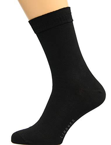 Max Lindner Diabetikersocken (Socken ohne Gummi) aus Baumwolle für Damen und Herren Markenqualität Strümpfe seit 1921 (51-53, schwarz)