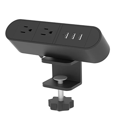 The desktop power strip features 2 power outlets and 3 USB charging ports.Keep your laptops, phones, or other mobile computing devices charged and ready to go at your desk, in your conference room, or anywhere else power access is needed. Table clamp...