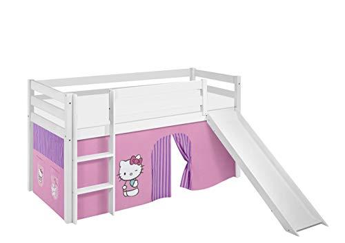 Lilokids Jelle Hello Kitty Lit Mezzanine avec Toboggan et Rideau pour lit d'enfant