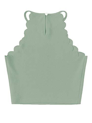MakeMeChic Women's Solid Halter Neck Cami Scallop Trim Workout Crop Top C Green XS