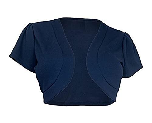 Hailouhai Women Fashion Shrug Short Sleeve Open Front Bolero Knit Cardigan Solid Color Plus Size Casual Summer Coat Tops Sweaters (Navy Blue, XL)