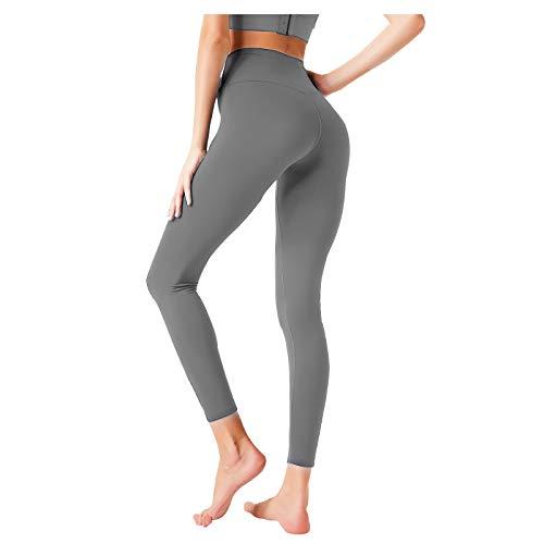 LIBILIS Leggings Mujer Mallas Pantalones Deportivos Push up Mallas para Running Training Fitness Estiramiento Yoga, Gris Oscuro L