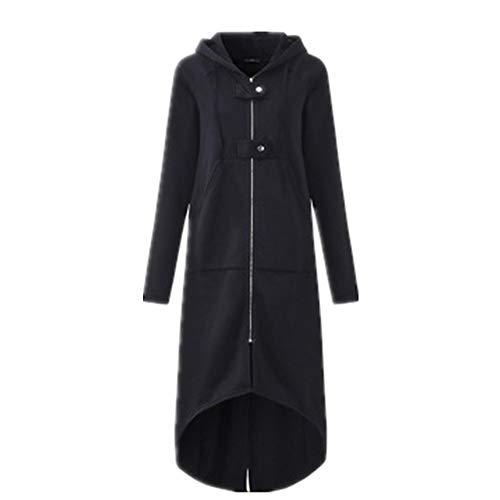 Liyihang Herfst en Winter Hooded Asymmetrische Long-Sleeved Rits Knop Lange Trui Jas Vrouw