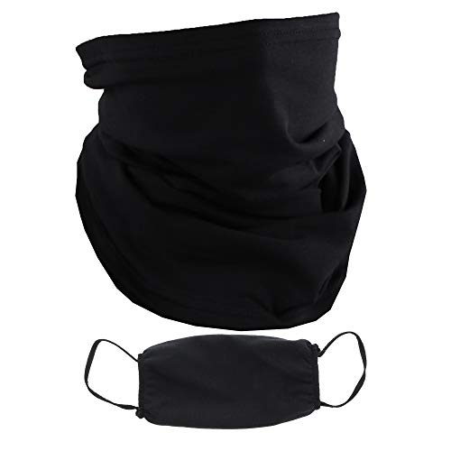 Neck Gaiter and Matching Face Mask Made in The USA Cotton Poly Masks & Balaclava - Solid Black