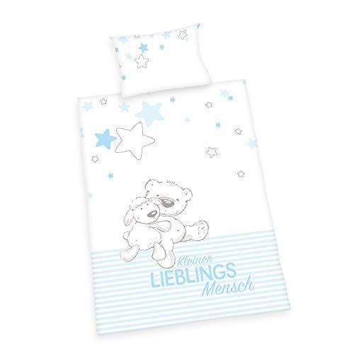 Herding Baby Best Bettwäsche-Set, Cotton, Blau, 40 x 60 cm, 100 x 135 cm