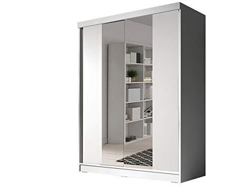 Idzczak Meble Schwebetürenschrank Bono Bis 02 Kleiderschrank 160 cm Schlafzimmer- Wohnzimmerschrank Schiebetürenschrank Modern Design (Weiß/Weiß + Spiegel)
