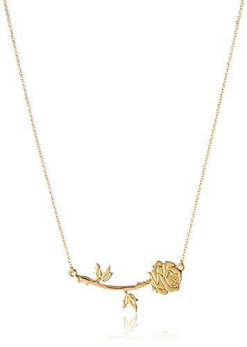 Couture Kingdom DYN341 Colgante Rosa 2D La Bella y la Bestia, Disney, Placcata In Oro, Talla única para Mujer