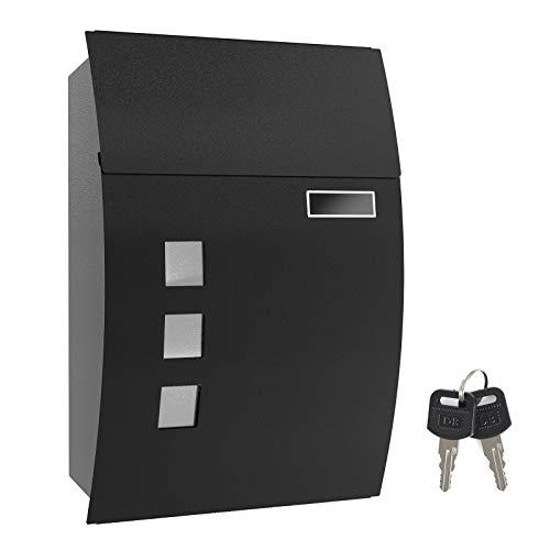 SONGMICS Briefkasten, Wandbriefkasten, abschließbar, mit Sichtfenstern, Namensschild-Halter und Schlüsseln, einfache Montage, schwarz GMB30BK