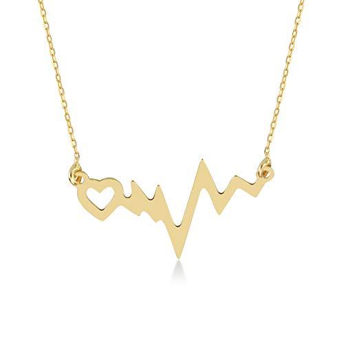 Gelin - Collar con colgante de corazón de oro de 14 quilates para mujer, 45,72 cm