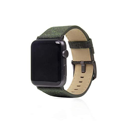 SLG Design Apple Watch 42mm 44mm用 バンド キャンバス地 本革 Wax Canvas カーキ