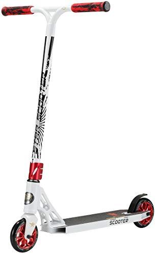 STAR SCOOTER Professional Freestyle Kick Stunt Scooter ab 8 Jahre | 120mm ABEC-9 Lager Alu Kinder City Roller mit HIC für Fortgeschrittene | Weiß Rot