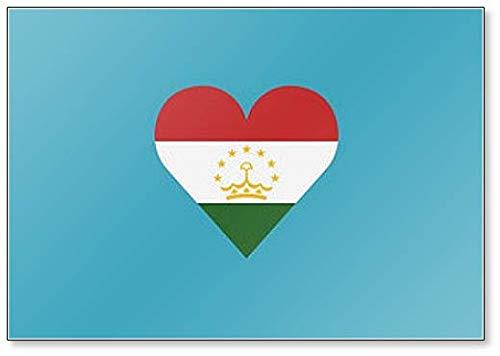 Tadschikistan Flagge in Herzform Illustration Klassischer Kühlschrankmagnet