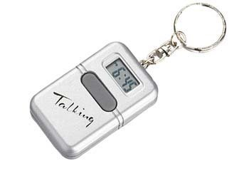 Silver Talking Clock Keychain