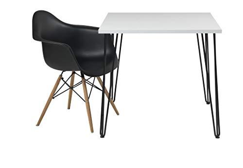 Euro Tische Esszimmertisch weiß Hochglanz Industrial Design Metallgestell - sehr Kratzfest - perfekt geeignet als Esstisch/Wohnzimmertisch - Made in Germany (80x80x74 cm)