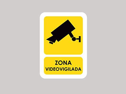 Pack 5 Señales de Zona Videovigilada | Medida 14,85x21cm | Señaletica en Material Aluminio Blanco Resistente de 3mm | Duradera y Económica