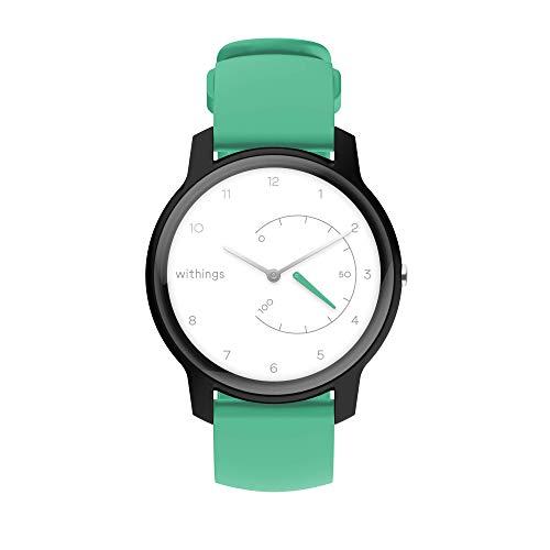 Withings Move Aktivitätstracker Uhr Schrittverfolgung Kalorien Schlaf Wasserdicht GPS Uhr Stoppuhr M Blanc, Noir et Menthe