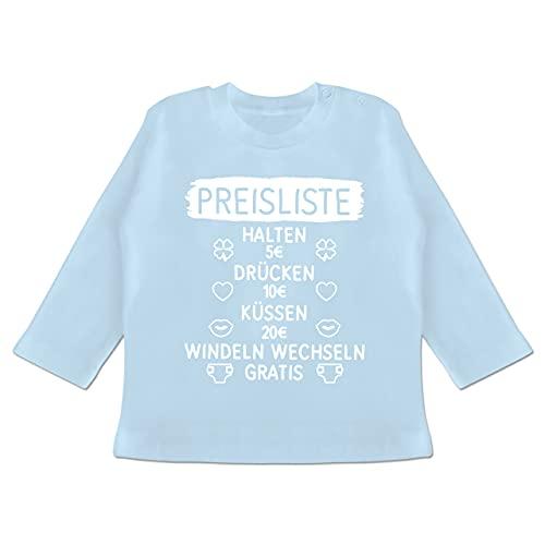 Statement Sprüche Baby - Preisliste mit Symbolen - weiß - 3/6 Monate - Babyblau - Baby - BZ11 - Baby T-Shirt Langarm