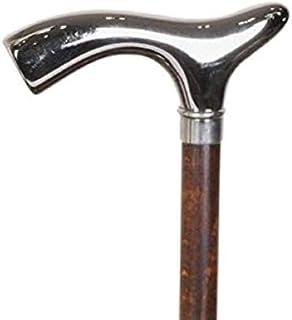 Vackert silver krom fritz handtag promenadkäpp brunt skaft formellt tillfälle rotting 35 tum 2/4 91 cm