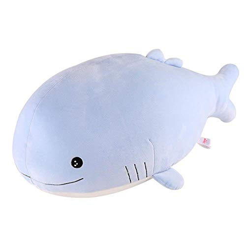 Molizhi Soft Whale Shark Stuffed Animal, Big Hugging Plush Pillow Doll Fish Toy, Gifts for Girls, Friends, Kids, 23.6' (Blue)