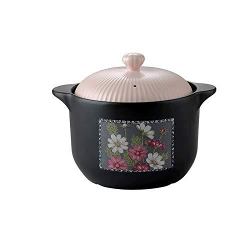 Olla de Sopa de Cazuela de ollas de Cocina 2.3L Cazuela con cazuela de Tapones, Olla de estofado, Cacerola, Sopa de ollas, Resistencia al Calor, Adecuado for Estufa de Gas, Estufa de Llama Abierta