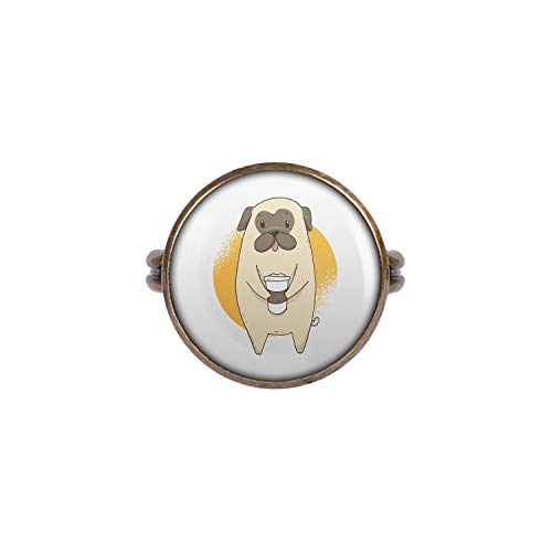Mylery Ring mit Motiv Mops Hund Pug Süß Kaffee-Becher Bronze 16mm