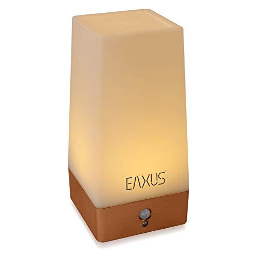 Eaxus® Nachtlampe - Kabellose Nachttischleuchte mit Bewegungssensor & Dämmerungssensor