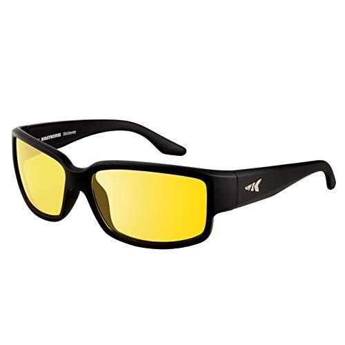 KastKing Polarized Night Vision Driving Glasses for Men and Women,Angular Wrap Design,Yellow Lens