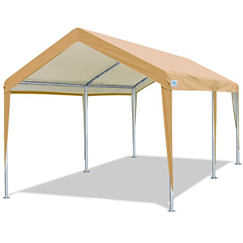 ADVANCE OUTDOOR 10x20 ft Heavy Duty Carport Car Canopy Garage Boat Shelter Party Tent, Adjustable Height from 6.5ft to 8.0ft, Beige